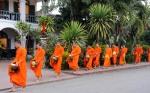 Mnisi buddyjscy Luang Prabang Laos jałmużna(4)