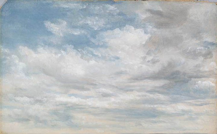 "John Constable, ""Cloud Study"" (1822, oil on paper laid on board)"