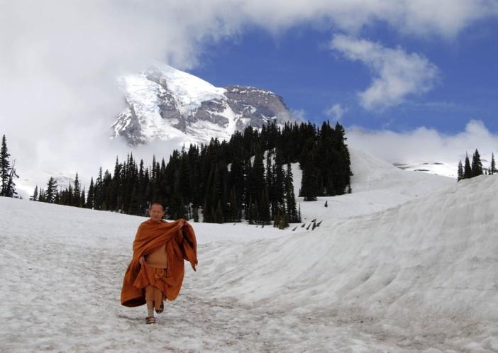 Happy monk in winter Paradise - Mt. Rainier