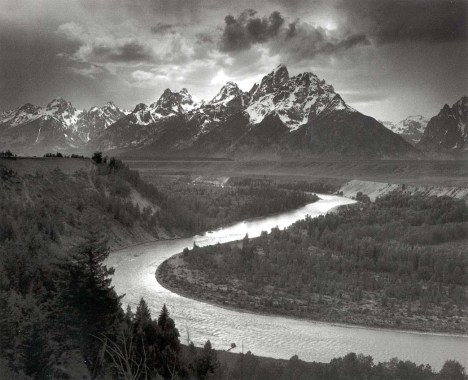 Przełomy rzeki Snake, w tle - górskie pasmo Teton (fot. Ansel Adams)