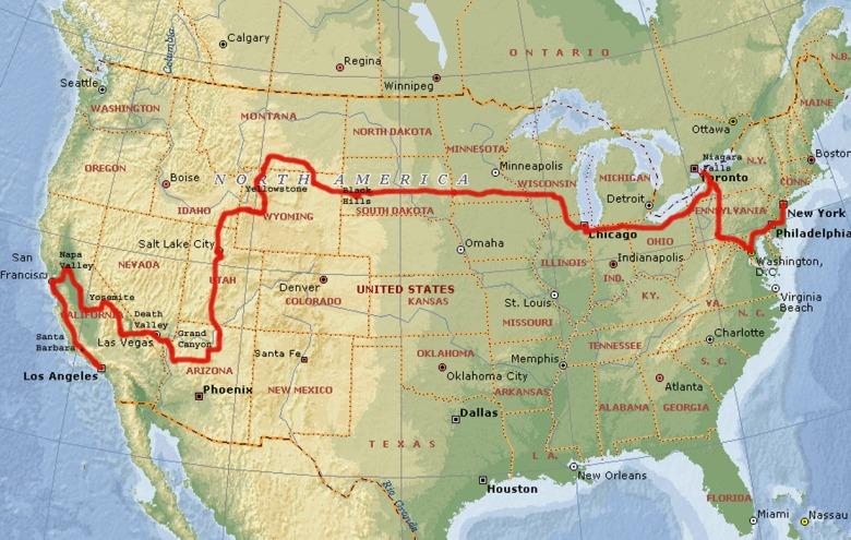 Amerykańska przygoda: trasa kontynentalna - od Pacyfiku do Atlantyku