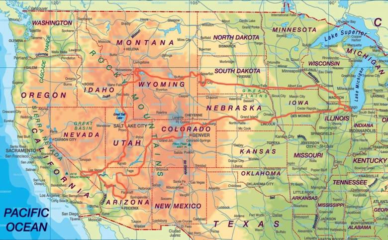 Stany Zjednoczone Wyprawa na Zachód - trasa