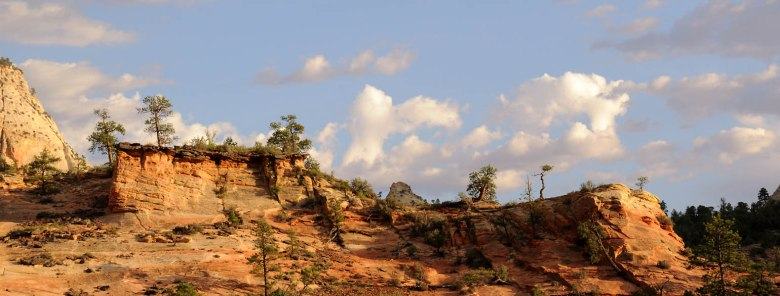 Skalna panorama - Zion o zachodzie słonca