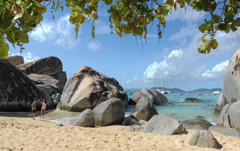 Kids platying in The Baths - Virgin Gorda