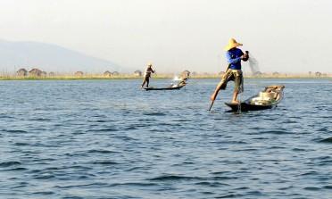 Jezioro Inle - rybacy przy pracy (4)